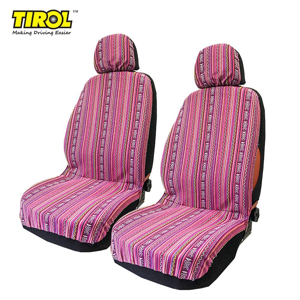 TIROL Universal 4 Uds fundas de asiento delantero reposacabezas desmontable rayas nacionales suaves coloridos protectores de asiento para mujeres niñas T25940b