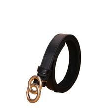 Double loop Women Belt Imitation leather alloy Buckle pin Belts ladies fashion casual dress all-matc