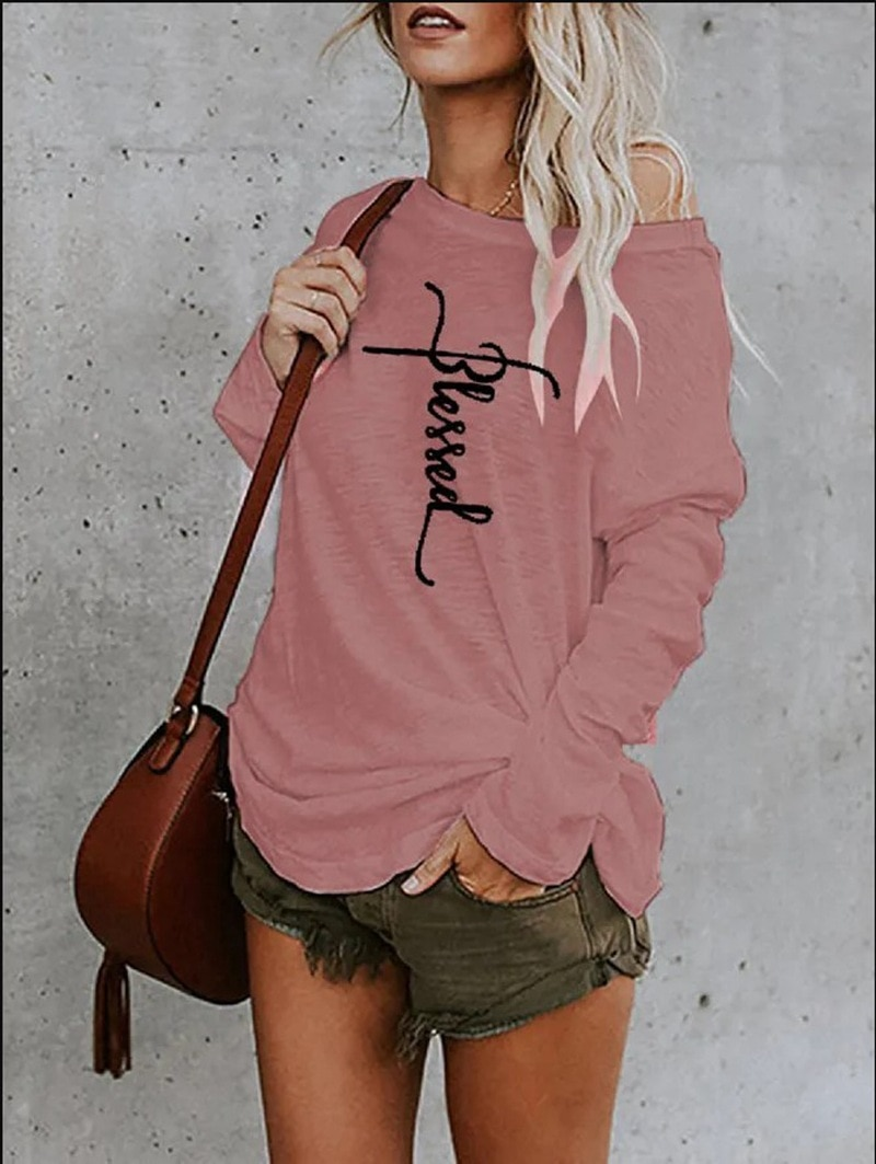 Plus Size T-Shirt Spring Autumn Letter Print Loose Women Tshirt Long Sleeve Thin Casual Round Neck Off Shoulder Female Pullovers casual letter print round neck t shirt pants twinset for kids