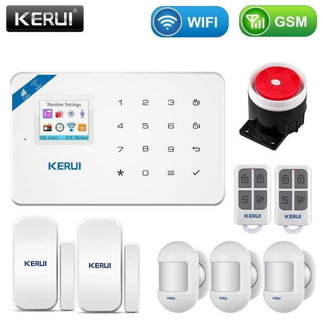 KERUI W18 1.7 Inch TFT Screen WIFI GSM Smart Home Burglar Security Alarm System Motion Detector APP Control Smoke Door Sensor