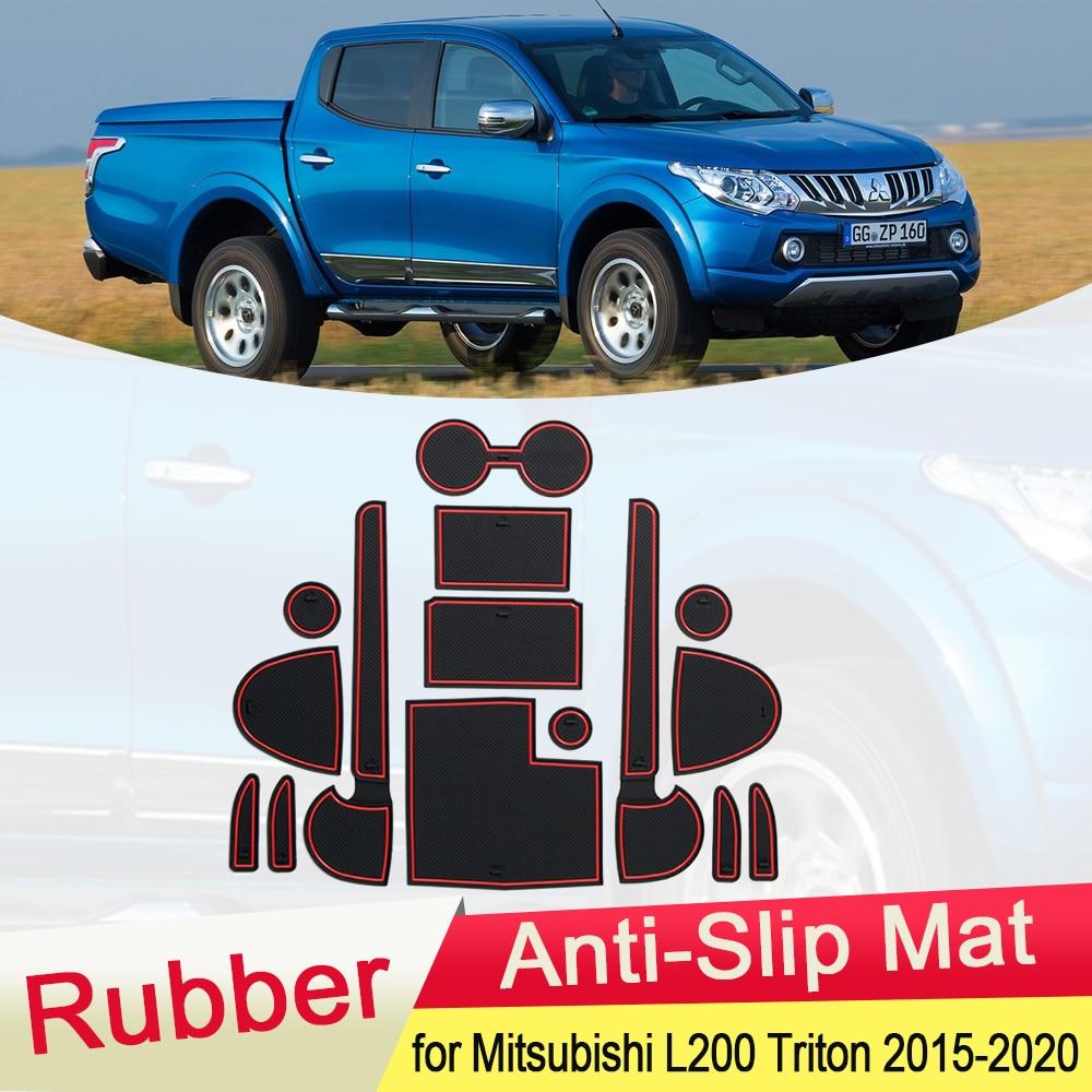 for Mitsubishi L200 Triton Strada Strakar Barbarian Fiat Fullback 2015~2020 Rubber Anti-slip Mat Door Groove Coaster Accessories