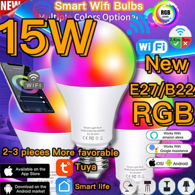 Bombilla inteligente de 15W con WiFi para el hogar, iluminación con retroiluminación...