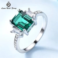 classic real 925 sterling silver rings simple square created emeralds womens rings wedding rings fine jewelry gift for women