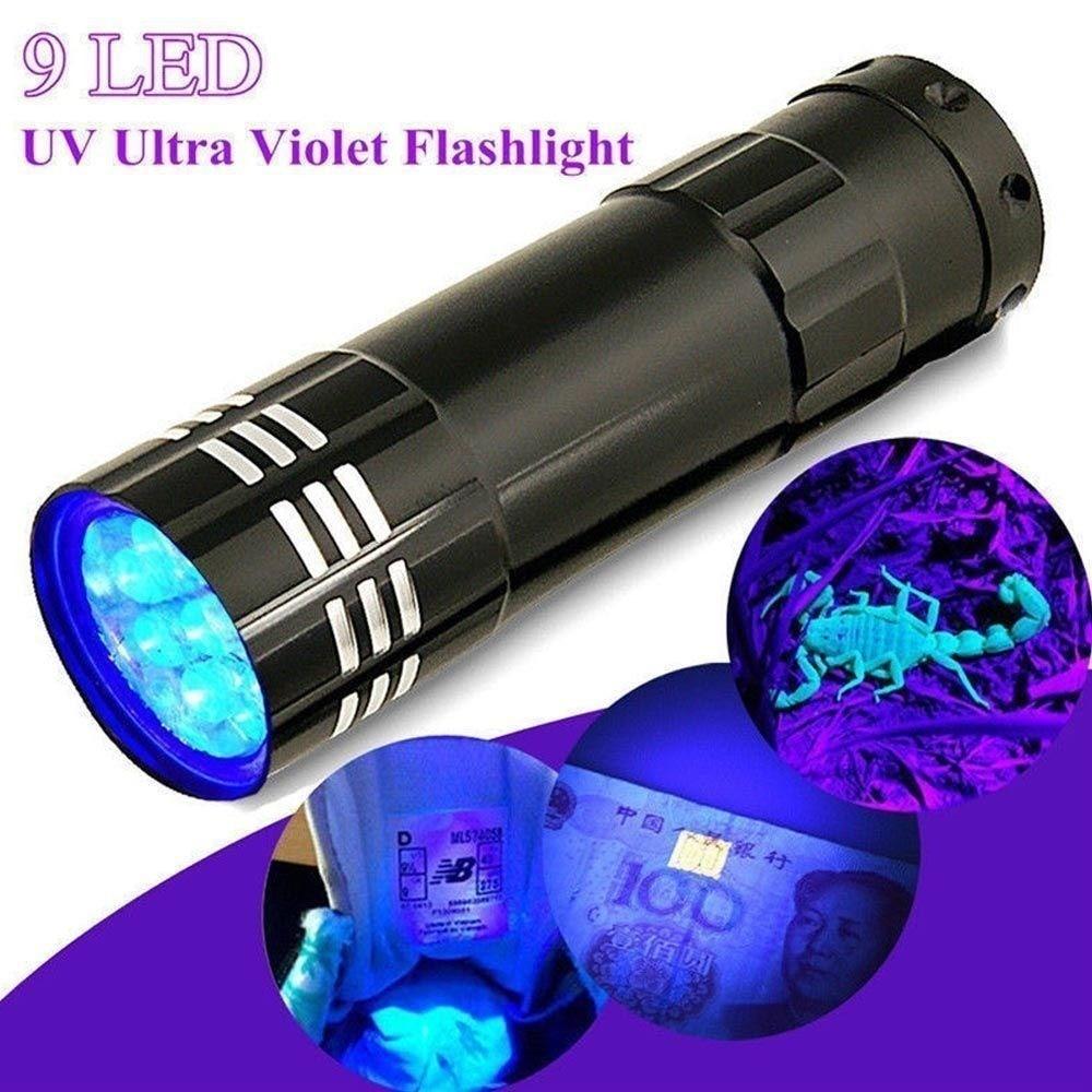 Linterna de luz UV Super Mini 9 LED linterna negra luz ultravioleta súper linterna púrpura de aluminio linterna portátil