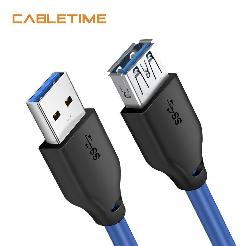 Cable de extensión de alta velocidad USB 3,0 CABLETIME de 5Gbps para Smart TV PS4 Xbox One SSD Cable de datos USB extensor adaptador N318