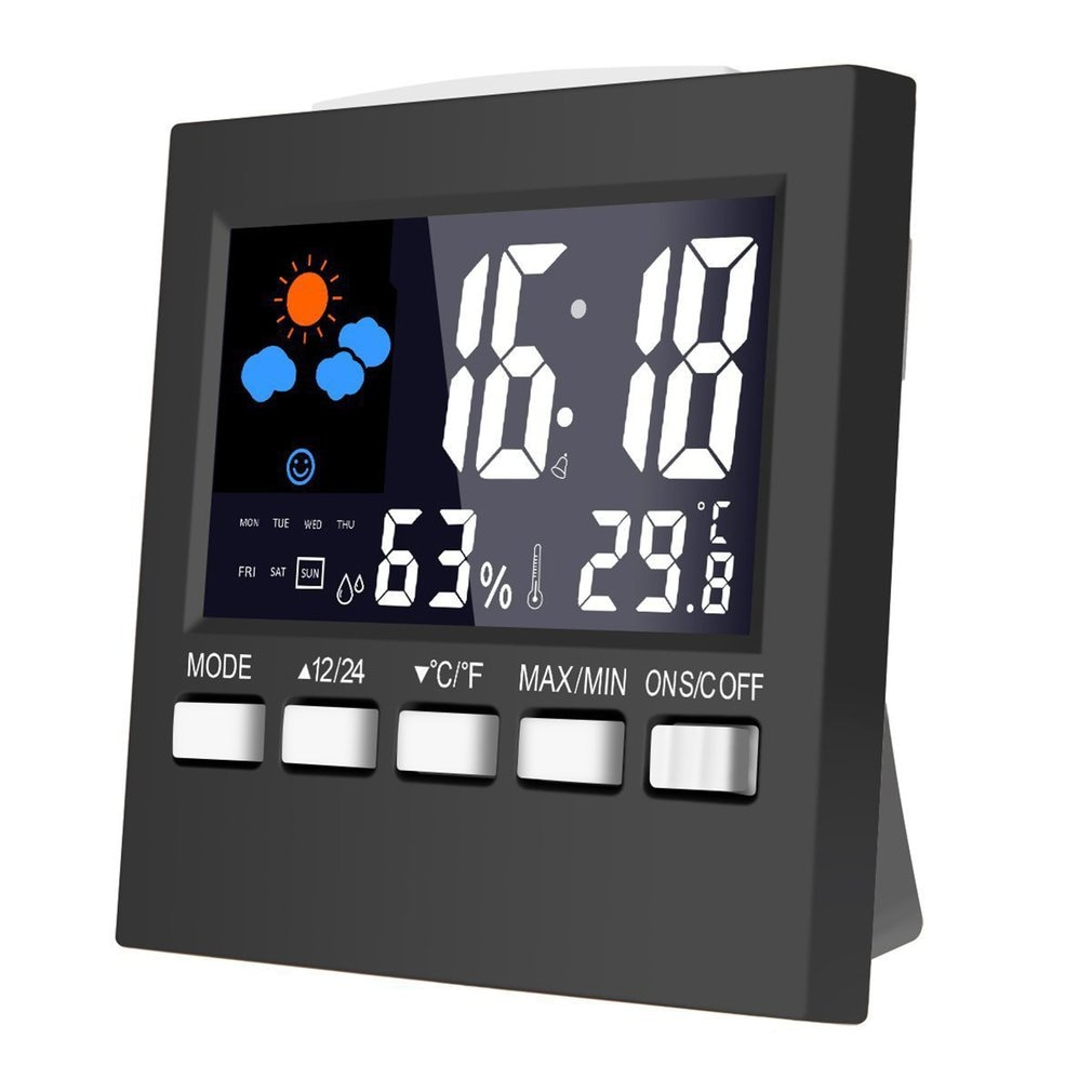 Weather Clock Color Screen New Digital Display Thermometer humidity clock Colorful LCD Alarm Calendar Weather Pop new abs multi functions digital desk pen pencil holder display lcd alarm clock thermometer