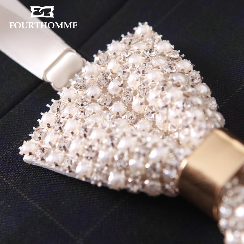 2020 New Bow Ties Men Noble Diamond Pearl Diamond Pearl Inlay Bowties Designers Brand Butterfly Shiny Romantic Wedding Bow Tie