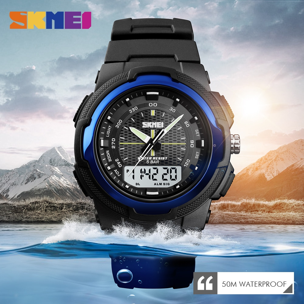 SKMEI Men Watch Outdoor Sports Electronic Watch Man Military Watches Men PU Strap Wristwatch Quartz Watches Double Clock Hombre