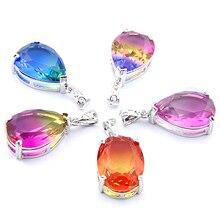 Grande offre mélange 5 pièces cadeaux de vacances larme ovale coupe arc-en-ciel Tourmaline colliers de pierres précieuses pendentifs