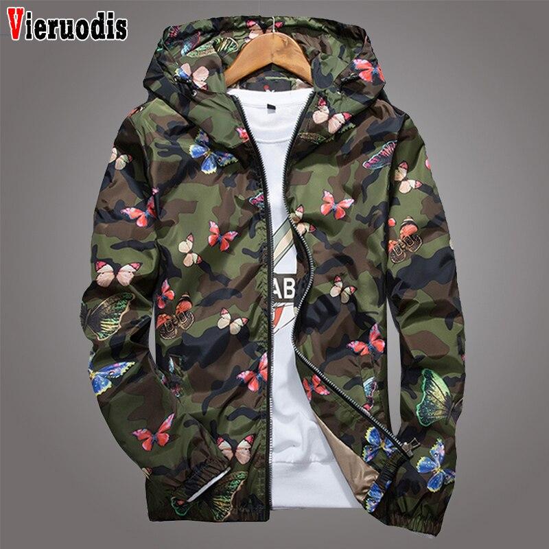 Primavera alta calidad hombres mujeres verano Camo rompevientos chaqueta otoño mariposa imprimir ropa hombres con capucha rompevientos abrigo hombre