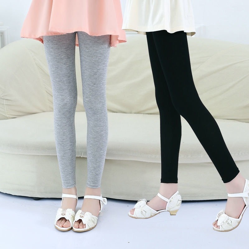 Summer Soft Elastic Modal Leggings Girl Pants Cute Candy Color Girls Skinny Pants Trousers Solid Color 2-12Y Children Trousers
