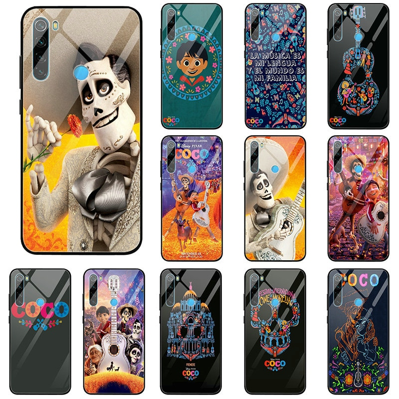 Película de dibujos animados Coco Miguel cráneo fundas de teléfono de cristal templado para Xiaomi Redmi Nota 4 4X 5 5X A1 6 6X A2 7 8 9 SE Lite Pro