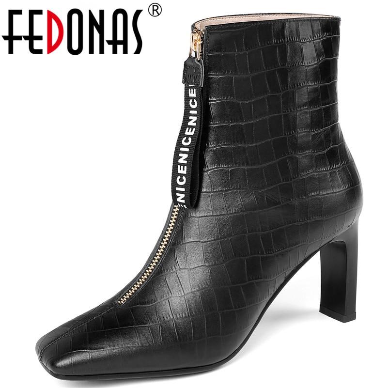 FEDONAS elegante punta cuadrada Chelsea botas tacones altos zapatos de baile mujer cuero genuino invierno cálido mujer botas de tobillo corto