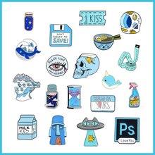 Broche émail bleu animal chat poisson maison PS alliage badge souhaitant bouteille film billet smiley visage tasse sablier lait épingle bijoux