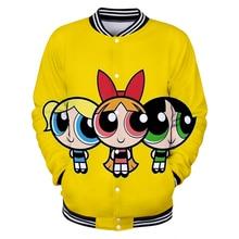 Kawaii Powerpuff Nette Mädchen 3D Baseball Jacke Bomber Jacke Album Butterblume Casual Harajuku Streetwear Kleidung Plus Größe Jacke