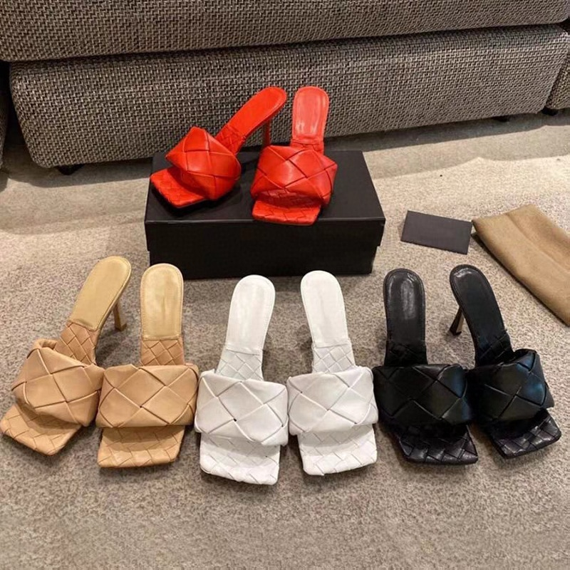 2020 ling ge Sandals nv wang Red Woven Summer New Leisure Heels Open Toe Square Semi-Trailer Women's Shoes
