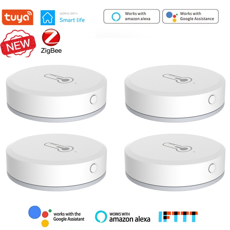Смарт-датчик температуры и влажности Tuya ZigBee, работает со шлюзом Zigbee через приложение Alexa Google Home SmartLife/Tuya смарт детекторы tuya для открывания закрытия дверей совместимые с alexa google home tuya работает со шлюзом zigbee3 0