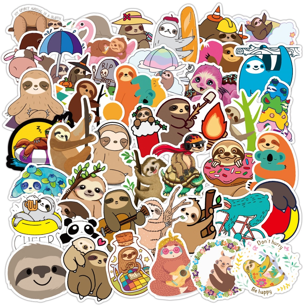 50 pcs/set Cute Lazy Sloths Waterproof Stickers Scrapbooking DIY Journaling Diary Stationery Stickers Travel Luggage Sticker