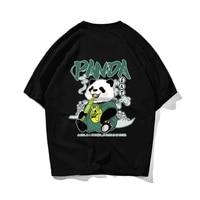 zen buddhism panda hip hop oversize t shirt men streetwear harajuku tshirt short sleeve cotton loose hiphop t shirt couple 2021