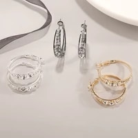 2021 new circle earrings for women girl fashion jewelry gold plated rhinestone inlaid big circle earrings party accessories