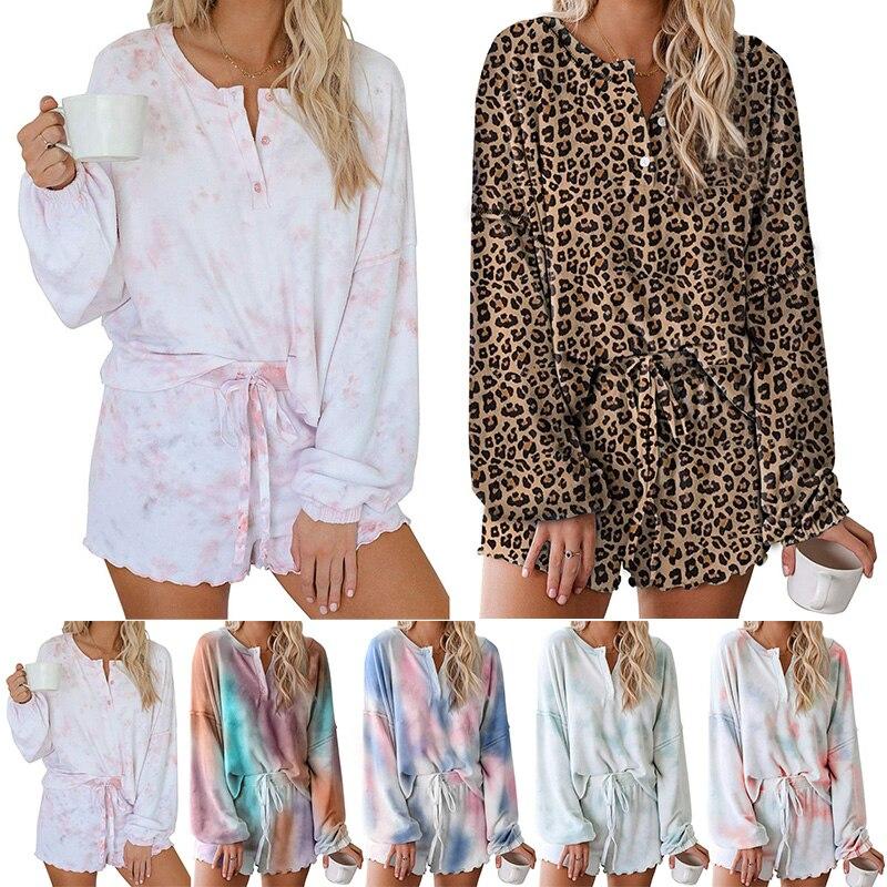 Women Pajamas Set Long Sleeve Ruffle Shorts Loungewear Nightwear 2 Piece Pajamas Set Tie Dye Printed Sleepwear/Sportwear