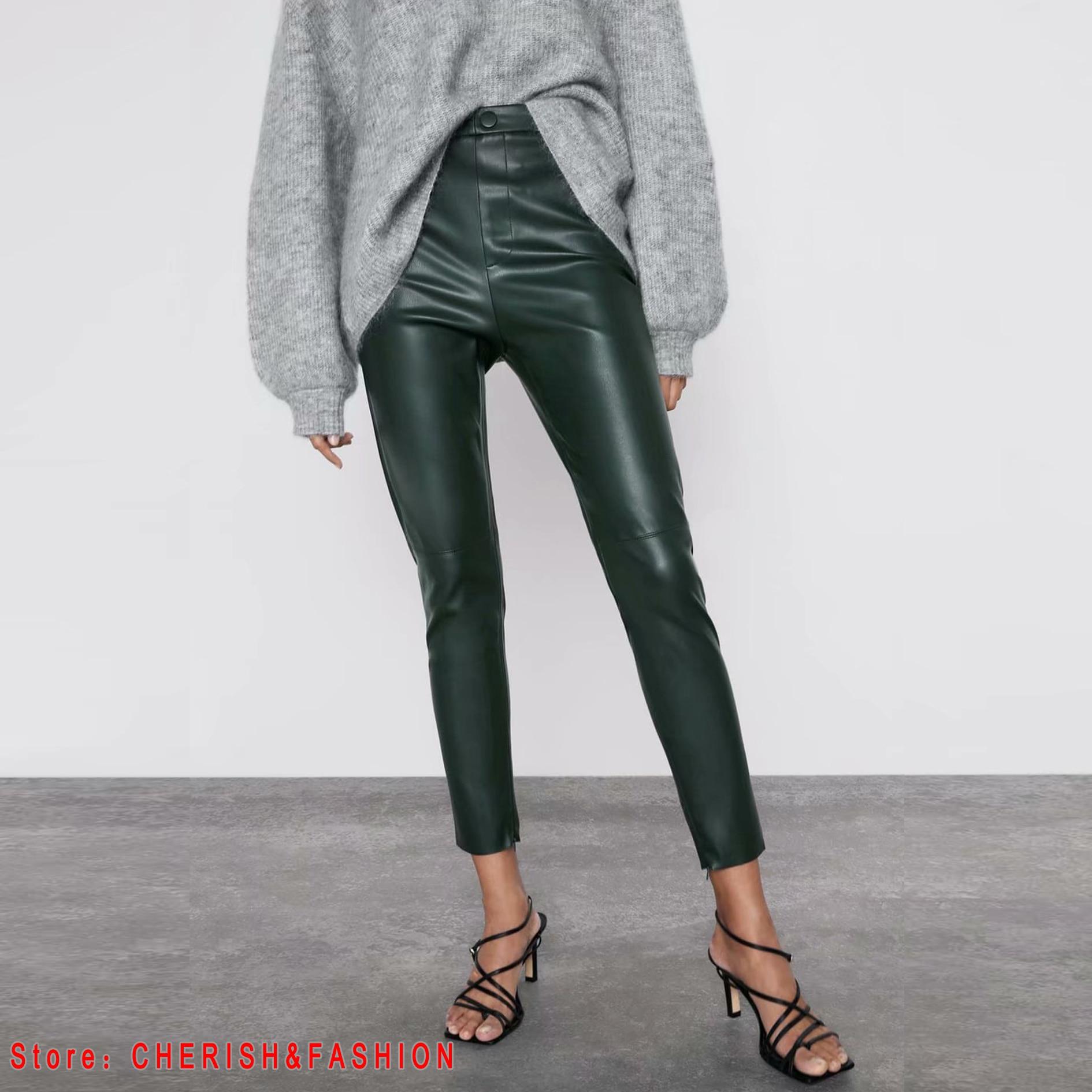 2020 New Fashion Autumn Winter Women High Waist Black Faux Leather Pants Lady PU Loose Pencil Trousers Elegant Pocket Streetwear