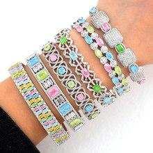 GODKI Luxus Stapelbar Manschette Armreifen Für Frauen Hochzeit Voll AAA Cubic Zirkon Kristall CZ Dubai Braut Armbänder Party Schmuck 2020