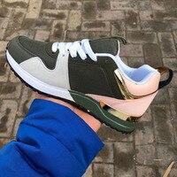 Женские замшевые кроссовки на платформе, модная дышащая повседневная обувь на шнуровке для бега и прогулок, Новинка осени 2021