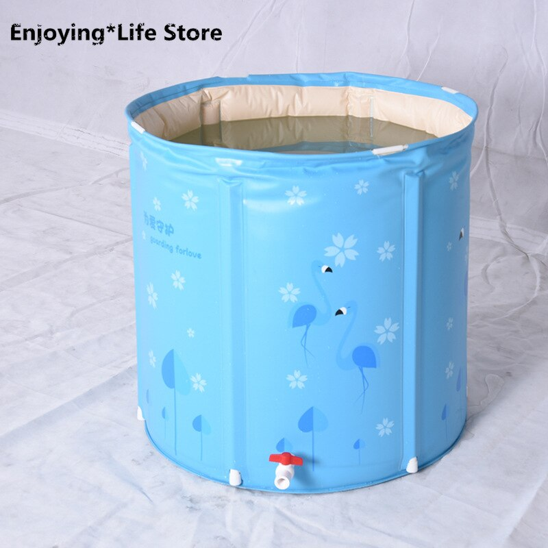 Inflatable Folding Bathtub Sauna Bucket Children Adult Bath Bucket Home Thickening Indoor Home Spa Travel Tub 75*75cm enlarge