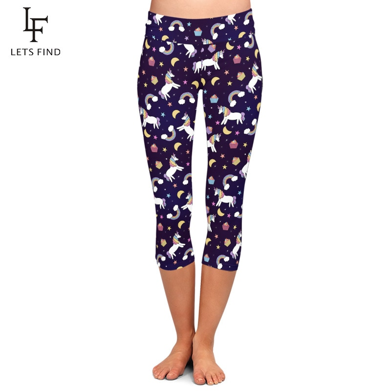 LETSFIND alta cintura más tamaño suave Fitness Slim Capri Leggings moda Arco Iris unicornios nubes y estrellas imprimir mujeres Leggings