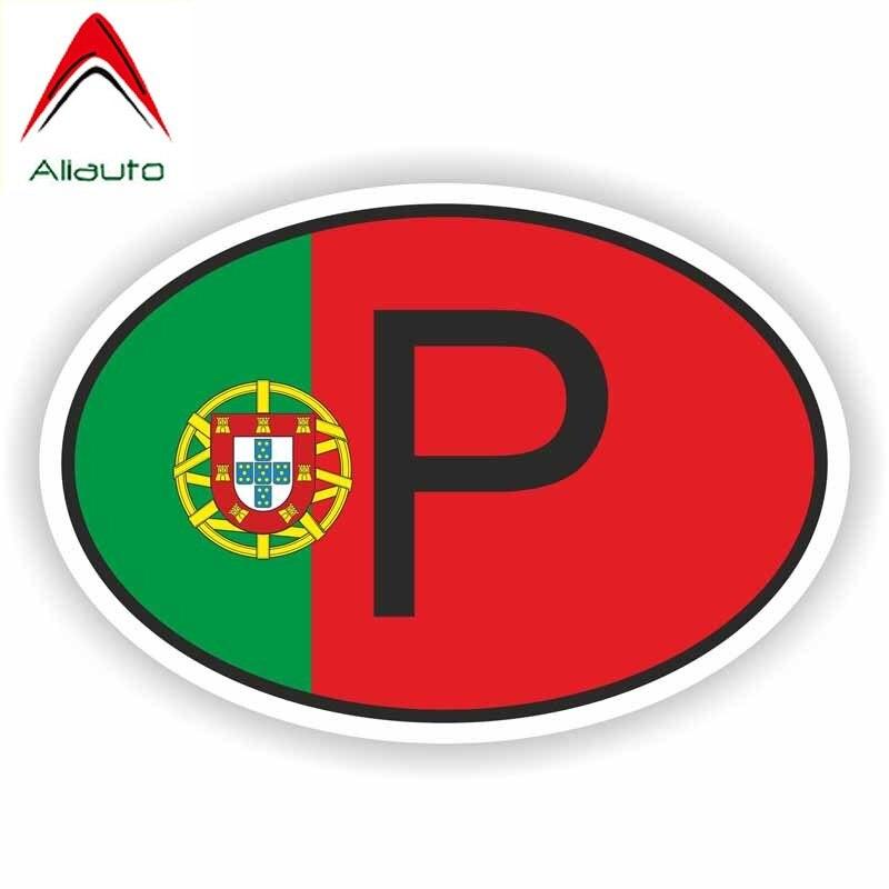 Aliauto, personalidad de motocicleta, código de país de Portugal, accesorios reflectantes a prueba de agua, pegatina de PVC,10cm * 7cm