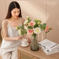 5pcs simulation 2 heads rose artificial flowers for home decoration accessories diy wedding bouquet bridal holding roses flowers