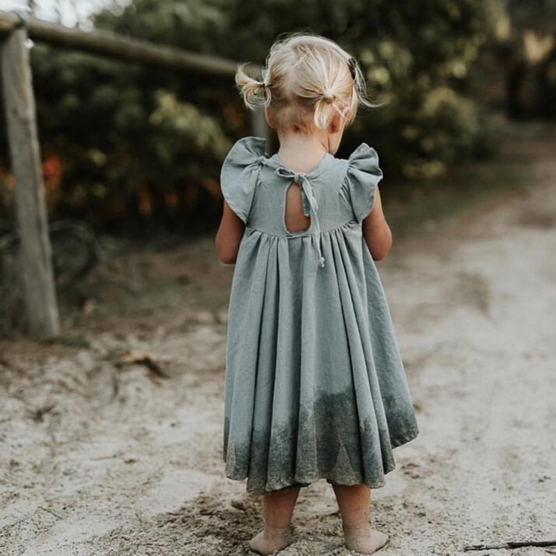 2021 New Summer Toddler Princess Dress Kids Cotton Causal Dress Ruffles Pure Color Baby Girl Clothing Korean Japan Style