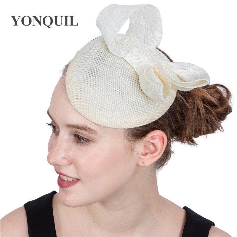Kapelusze Millinery lady Fascinators bow nowe eleganckie damskie czapki imprezowe włosy ivory spinki do włosów dla dziewczyny kobiety bankiet holiday headpiece