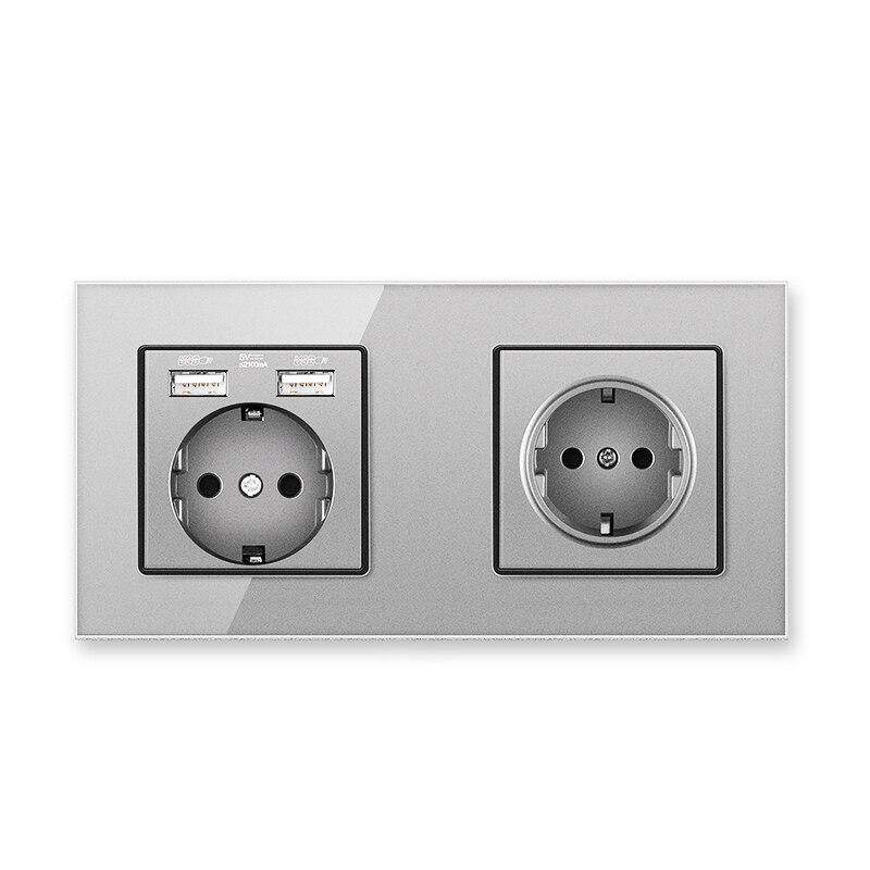 الاتحاد الأوروبي القياسية الكهربائية المقبس الكريستال والزجاج لوحة الجدار ألمانيا الاتحاد الأوروبي المقبس مع منفذ USB AC110-250V 16A رمادي