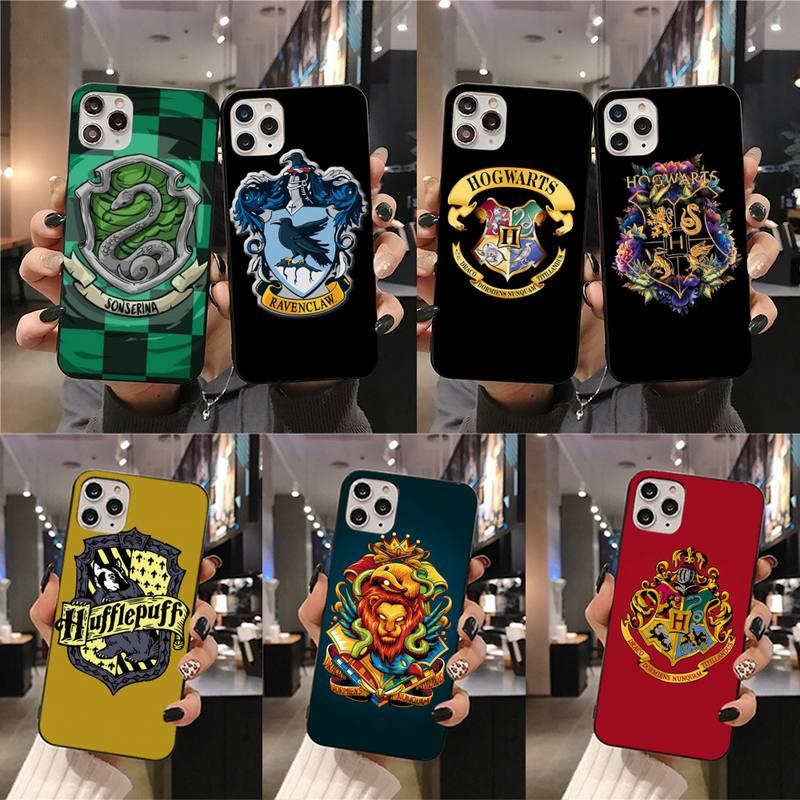 YJZFDYRM Harries Potter insignia de la Escuela de silicona teléfono negro teléfono caso para iPhone 11 pro XS MAX 8 7 6 6S Plus X 5S SE 2020 XR caso