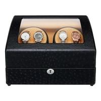 jqueen 4 automatic watch winder with 6 storage case black ostrich pattern 5 modes