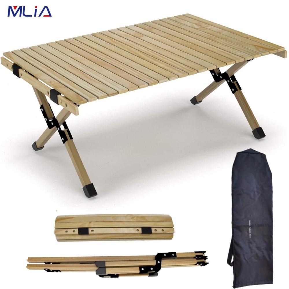 للطي طاولة من الخشب المحمولة في الهواء الطلق داخلي جميع الأغراض طوي نزهة الجدول كعكة لفة طاولة خشبية في حقيبة للتخييم نزهة