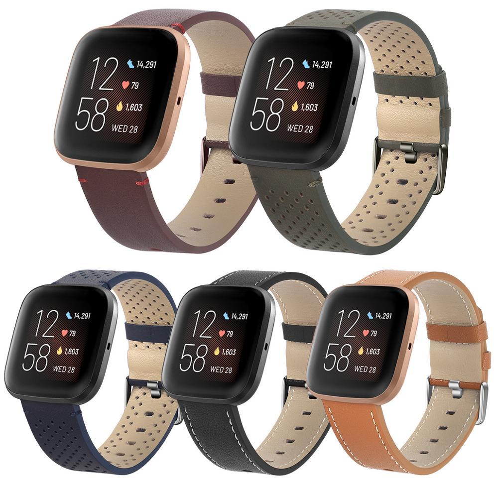 Leather watchband for fitbit versa 2 strap bracelet band official type wristband for fitbit versa / versa lite Smart watch band