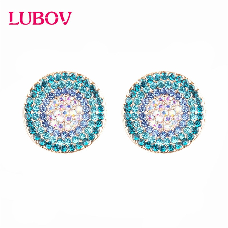 LUBOV Light Blue Round Stud Earrings Women Fashion Noble Wedding Jewelry Gold Plating Stud Earrings Free shipping