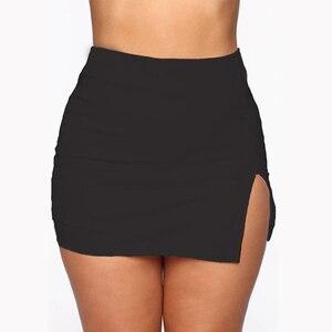Women Mini Shirt Summer Sexy Slim Solid Color Plus Size Female Splited High Waist Pencil Skirt Club Fashion