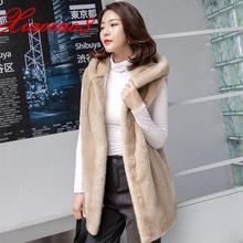 Beige noir chaud longue Imitation fourrure femmes Gilet hiver à capuche solide manches Jacekts manteau de haute qualité sur la taille Gilet Femme