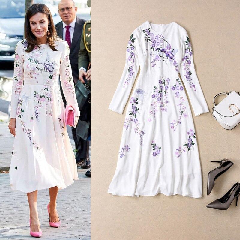 Vestido largo de alta calidad, novedad, vestidos blancos de moda para mujer para fiesta u oficina, elegantes, Vintage, elegantes y elegantes con estampado bordado