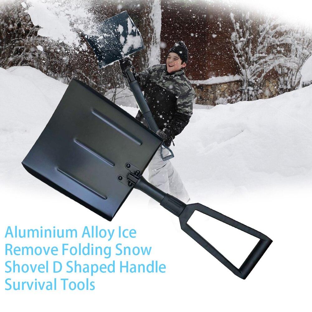 Pala de nieve plegable multifuncional con mango en forma de D para exteriores, herramienta de hielo para coche, aleación de aluminio, retráctil, Camping, Invierno