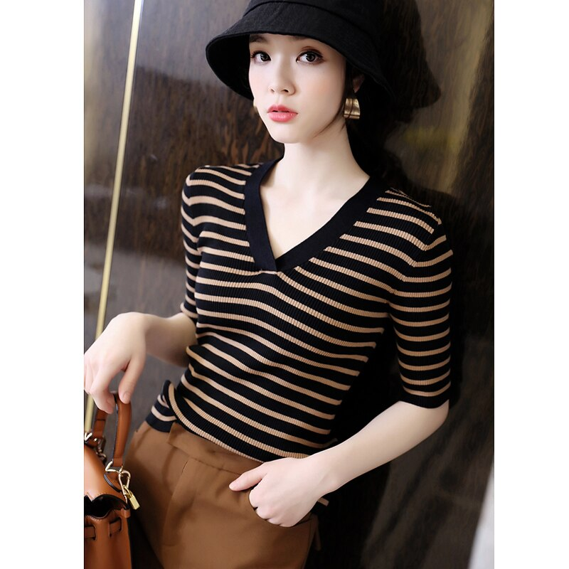 Pure cotton T-shirt women 2021 summer new style V-neck casual knit short-sleeved women's top pullover tees plus size hot