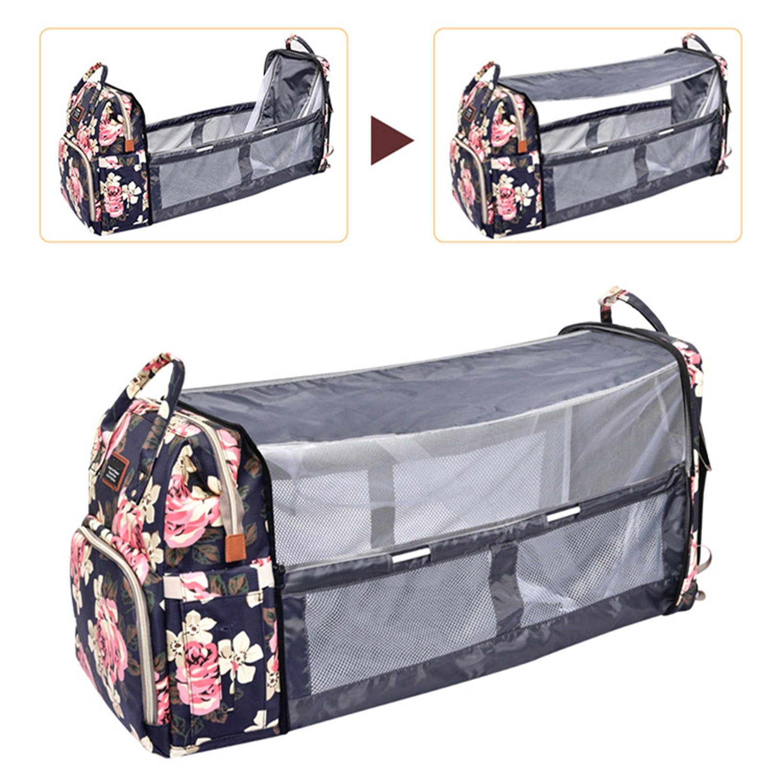 Foldable Travel Crib Changing Station Diaper Bag Backpack Bassinets for Baby Girls Boys