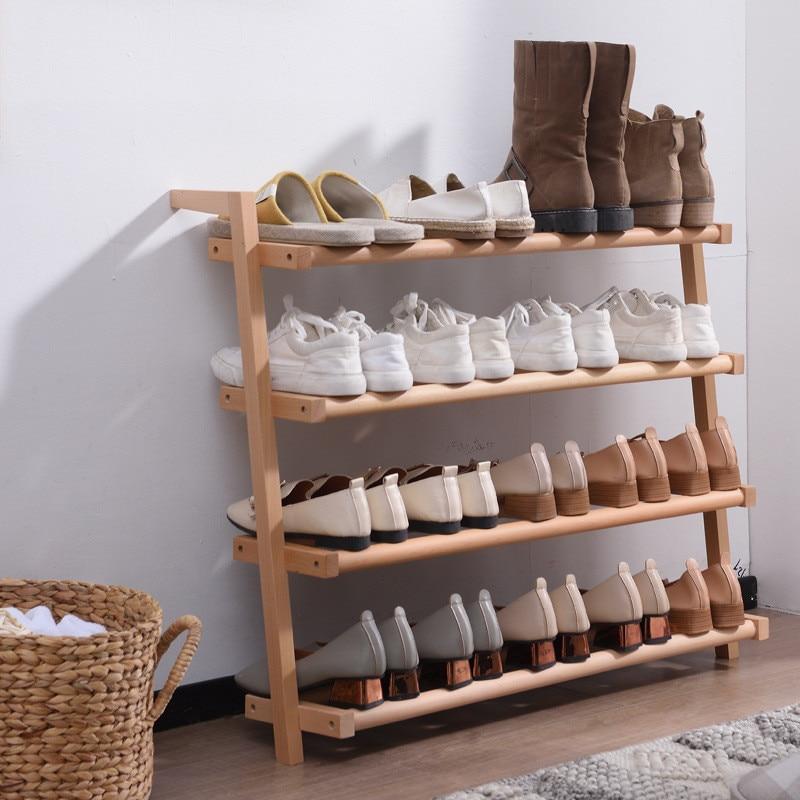 Free Installation 4 Layers Shoe Rack Simple Household Economic Racks Dormitory Door Storage Rack Bamboo Shoe Cabinet Creative