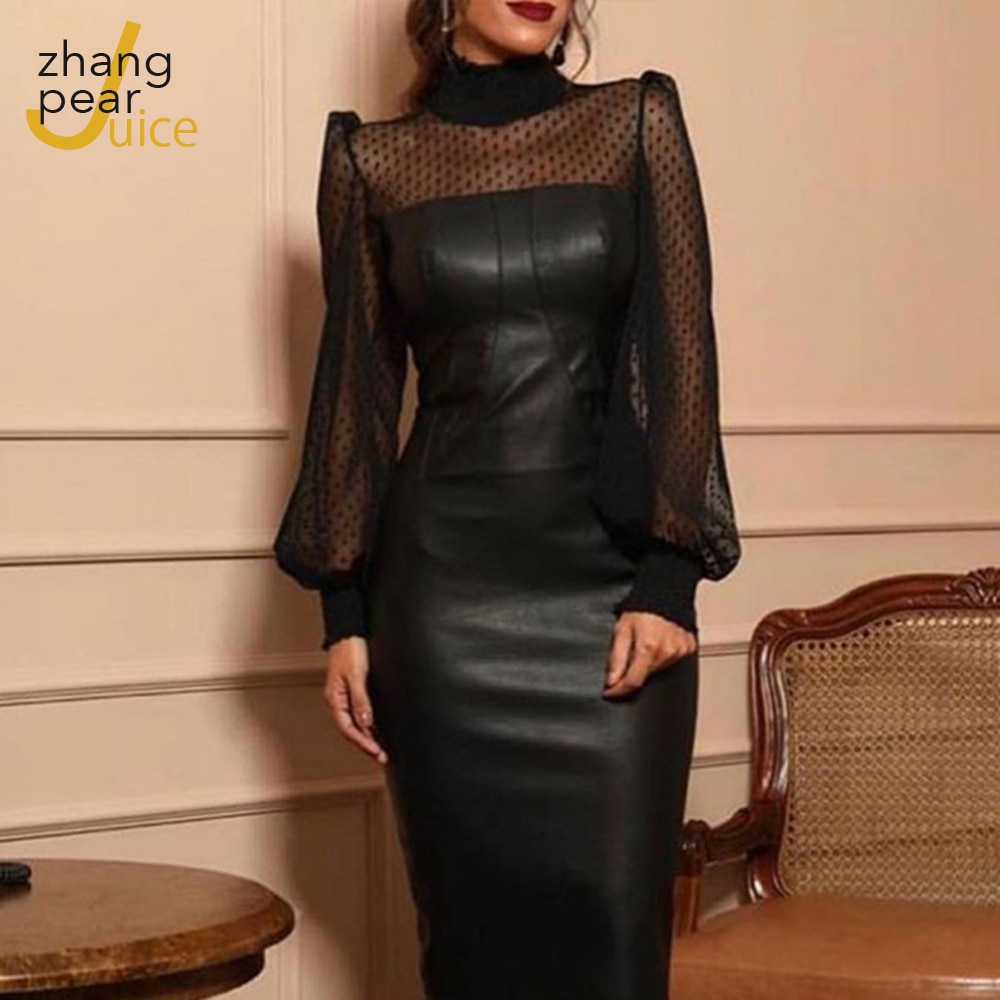Woman Sexy PU Leather Dress 2021 Spring Autumn Summer Womens High Neck Black Bodycon Robe Femme