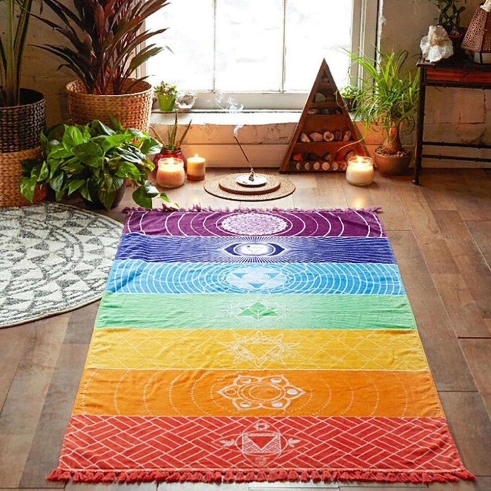 Mejor calidad hecha de algodón Bohemia India Mandala manta 7 Chakra arcoíris rayas tapiz playa toalla estera de Yoga