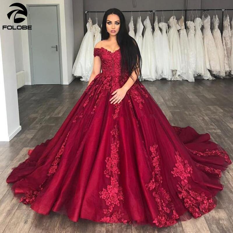 2020 precioso vestido de baile color borgoña vestidos de novia con hombros descubiertos apliques tul de talla grande vestidos de novia rojo oscuro hechos a medida